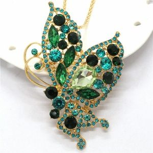 Green Statement Butterfly Pendant Brooch NWT